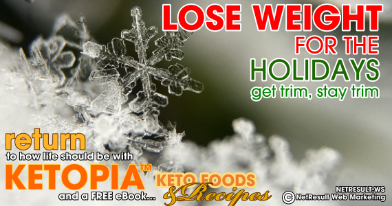 lose weight for the holidays, get trim stay trim, return to how life should be with Ketopia and a free ebook KETO FOODS AND RECIPES
